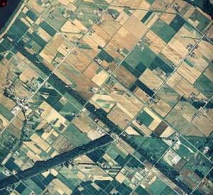 航空写真で見られる砂堤列の痕跡。