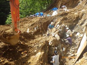 発掘現場の全景。垂直の壁面に対して作業を進めている。