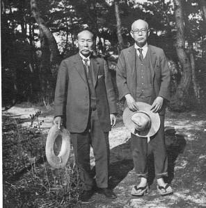 昭和7年北海道に次兄を訪ねた際、層雲峡にて左・次兄富太郎と茂吉