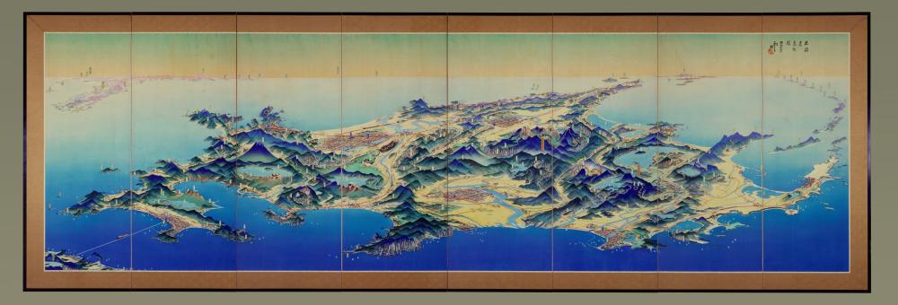 吉田初三郎筆〈北海道鳥瞰図屏風〉