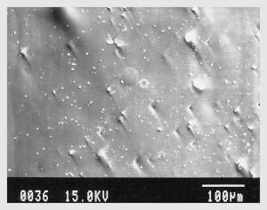 <電子顕微鏡の観察> 木灰とともに30分の加熱をした黒曜石の表面変化 コーディングされ平滑になってきている。