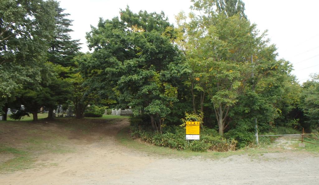 砂丘上に築かれた屯田墓地。