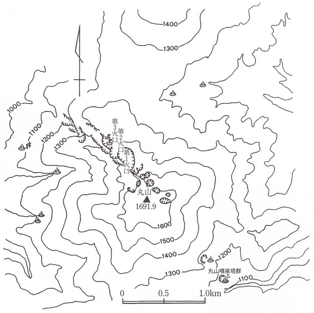 丸山と噴泉塔群の位置図(荒牧ほか(1993)に加筆)