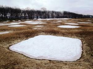 「残雪のある竪穴住居跡(一辺約5mの方形)」