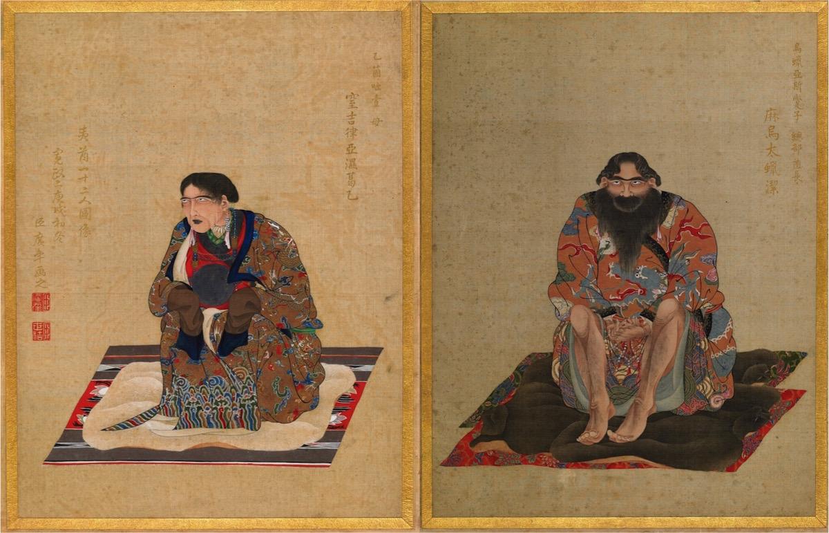 右:「麻烏太蝋潔(マウタラケ)」図 左:「窒吉律亜湿葛乙(チキリアシカイ)」図